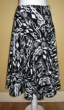 WOMENS BLACK / WHITE FLARED PATTERNED  COTTON SKIRT - DOROTHY PERKINS - 12