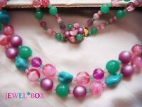VINTAGE 1950s Purple MOONGLOW Jade Pink Turquoise Beads DOUBLE STRAND NECKLACE