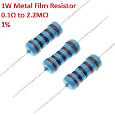 50pcs 1W Metal Film Resistors/Resistance ±1% 121 Values Available 0.1Ω to 2.2MΩ