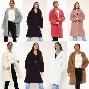 Women's Ladies Italian Borg Longline Teddy bear Winter Warm Button Coat Jacket
