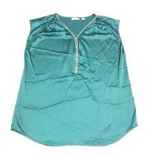 New York & Company Top Womens Sz Large 14 Green Blouse Sleeveless Zip Up V Neck