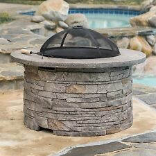Outdoor Garden Natural Stone Style Round Fire Pit