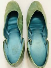 Vintage Antique 1917 Womens Shoes Handmade Green Leather Turquoise silk lining