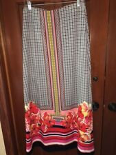 ECI Stretch Pink Geo and Tropical Floral Border Print Pull On Maxi Skirt Size M