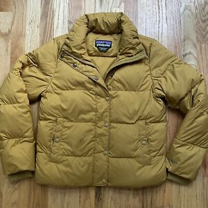 Women's Patagonia Silent Down Gold Full Zip Up Puffer Puffy Coat Jacket Sz Small