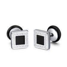 TT 8mm S.Steel Fake Ear Plug Square Greek Key Earrings body Piercing (BE15)