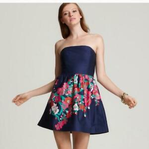 Lilly Pulitzer Lottie Dress Size 00 Women fit & flare strapless floral print