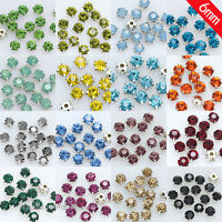 36p 6mm faceted crystal Sew On cut glass cup Rhinestones diamante Montees Beads