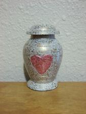 Gold Flecked White w/Pink/Red Heart Keepsake Mini Token Urn w/Velvet Bag