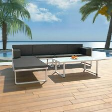 vidaXL Set Muebles Jardín 13 Pzas Aluminio Negro Blanco Sofá Mesa de Exterior