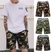 Casual Mens Army Camouflage Cargo Elasticated Shorts Combat Half Pants Camo
