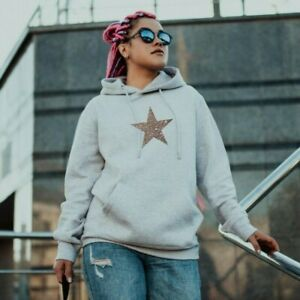 Glitter Star - Ladies Hoodie Cute Fashion Sparkle Printed Sweatshirt