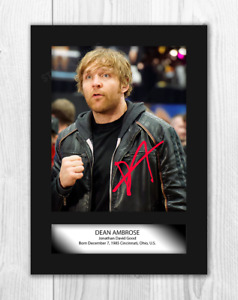 Dean Ambrose WWE A4 reproduction signature photograph poster choice of frame