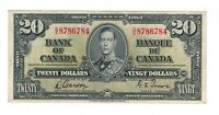 Canada 1937 $20 Bank of Canada Banknote D/E Lot#2