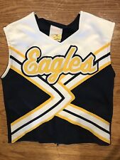 Youth Eagles Yellow Blue White Cheerleader Shirt Top 28� Bust 16� Full Length