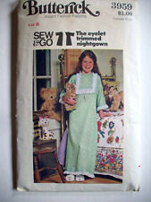 Girl's old fashioned nightgown pjs pattern 3959 size 6