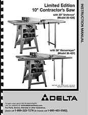 """Delta 10"""" Table Saw Instruction Manual for Model No. 34-426 and 431"""