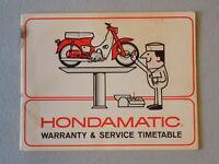 1966 Honda Super Cub C50 Hondamatic Warranty & Service Time Table Owners Manual