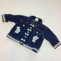 Denim Jacket 6-9 Months Blue Jean Coat Bows Crochet Girls