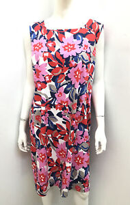New! PERRI CUTTEN gorgeous pink floral lined cotton dress ~ Size 18
