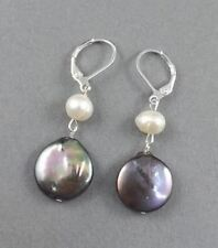 "1"" Peacock black coin Feshwater Pearls dangle earrings silver leverback hooks"