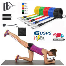 USA,11 PC Resistance Bands Set Pull Rope Gym Home Fitness Workout Yoga Tube