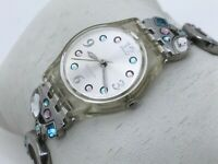 Swatch Swiss Ladies Watch Multi Color Crystals Accent Metal Band Analog Watch