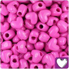 50 x Dark Pink Opaque 12mm Heart Shape Pony Beads Quality Pony Beads