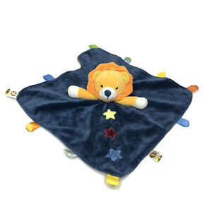 """Taggies Lion Lovey Security Baby Blanket Navy Blue Rattle Stars Satin Silky 14"""""""