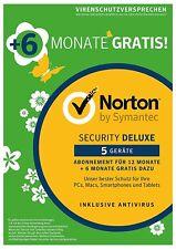 NORTON SECURITY Deluxe 2018 5 Geräte 18 Monate 5 PC/Mac DE