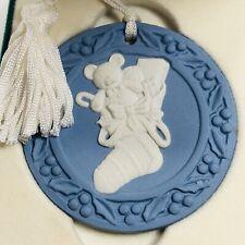 1992 Wedgewood Blue Jasperware Ornament Christmas Stocking White Tassel Hanger