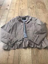 J Crew Blazer Jacket Khaki Frill 8 12 Worn Once Ruffles Coat Worn Once Vgc