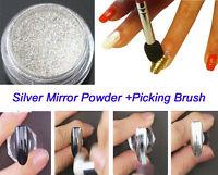 2Pcs/set Silver Mirror Powder Glitters Powder Picker Pen Nail Art Manicure Kit