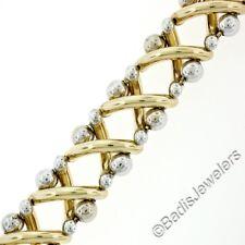 """NEW Italian 14K TT Gold 8"""" Fancy Figure X Tube Link & Ball Wide Chain Bracelet"""