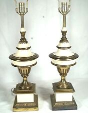 PAIR OF STIFFEL ATOMIC SPACE STATION RINGS OF SATURN BRASS COVERED URN LAMPS