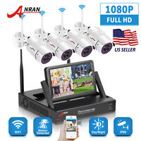 "ANRAN CCTV 1080P HD Wireless Security Camera System 7""LCD 4CH NVR Indoor/Outdoor"