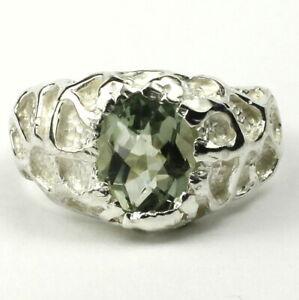 GREEN AMETHYST Sterling Silver Men's Ring, Handmade • SR168