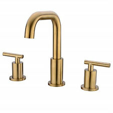 Brass Bathroom NPT Bath Sink Facuet Double Lever Brushed Gold Basin Mixer Tap