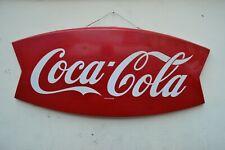 """insegna pubblicità vintage """"fishtail sign"""" COCA COLA '63 colore ripristinato"""