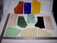 ~12 LBS. LG. TO MED. VINTAGE & CURRENT STAINED GLASS PIECES - GLASS ART; MOSAICS