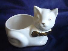 Katze mit Blumentopf 7Bonboniere Porzellan weiß