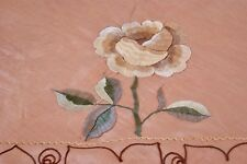"""VINTAGE PEACH RAYON LINEN EMBROIDERED BEDSPREAD OR TABLECLOTH 91"""" x 98"""""""