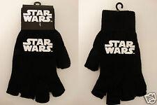 Star Wars Movie Logo Knit Fingerless Black Gloves Nwt
