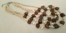 Cream Glass Seed Bead Freshwater Pearl And Wooden Bead Necklace Boho hippie