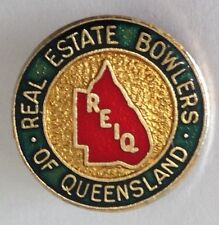 Real Estate Bowlers Institute Of Queensland Bowling Club Badge Pin Vintage (L22)