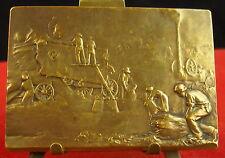 Médaille Paysans au travail moissons harvest Medal famers on work Fauchage Semis