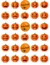 30x Halloween Pumpkin Cupcake Toppers Edible Wafer Paper Fairy Cake Toppers