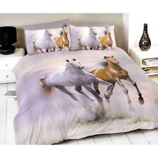 White Brown Photographic Horse Running Print Double Duvet Cover Bedding Bed Set