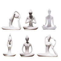 Abstract Art Ceramic Yoga Poses Porcelain Yoga Lady Statue Different Poses Decor