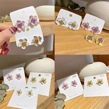 Fashion Women Acrylic Alloy Painting Spring Flower Earrings Drop Dangle Jewelry